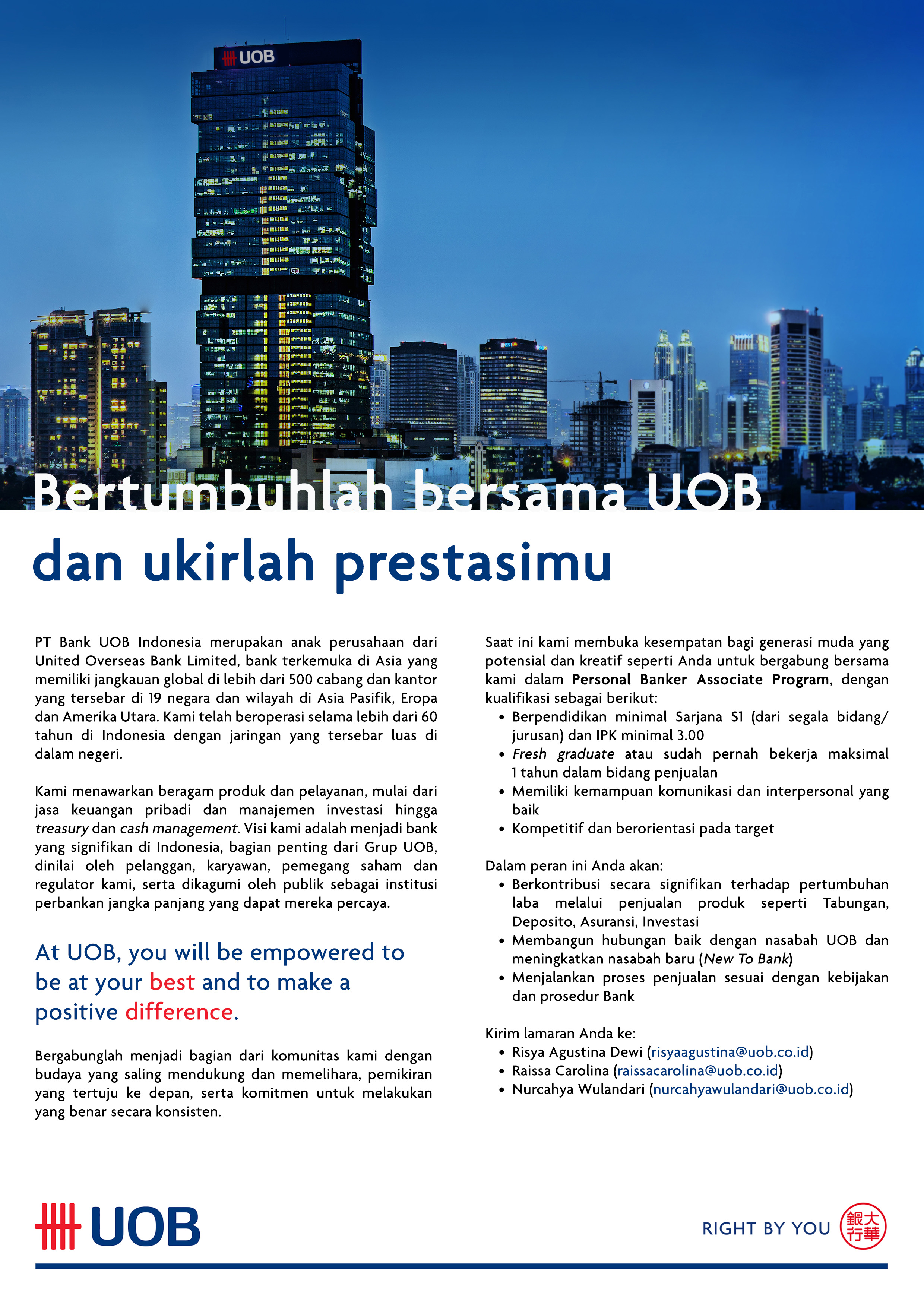 uob bank advertisement Uob business internet banking service – 65 subject to the constraints in the uob bib and cms systems, the customer may instruct payments, schedule ad-.
